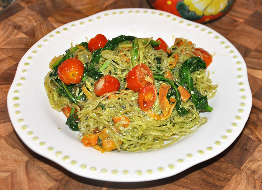 Pesto Noodles with Roasted Tomatoes and Arugula (Grain-free, Vegan)