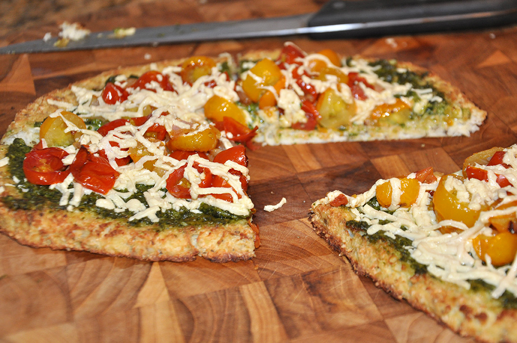 Pesto Pizza with Roasted Tomatoes (Grain-free, Dairy-free)